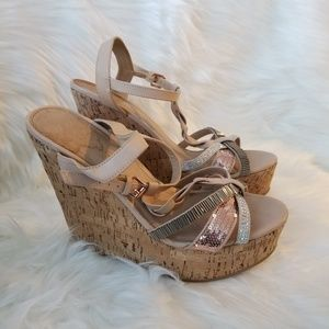 ALDO Cork Sequined Platform Wedge Shoes 10